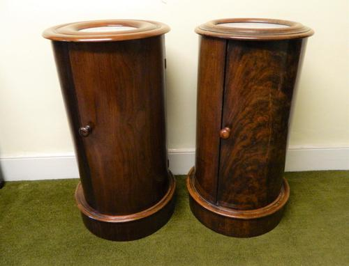 Pair of Mahogany Cylinder Bedside Cabinets (1 of 7)