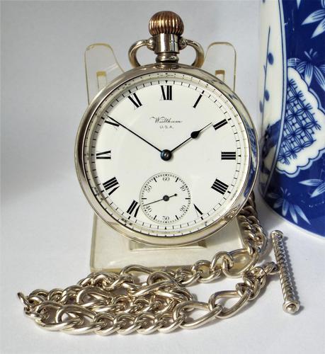 Vintage Silver Waltham Pocket Watch & Chain (1 of 4)