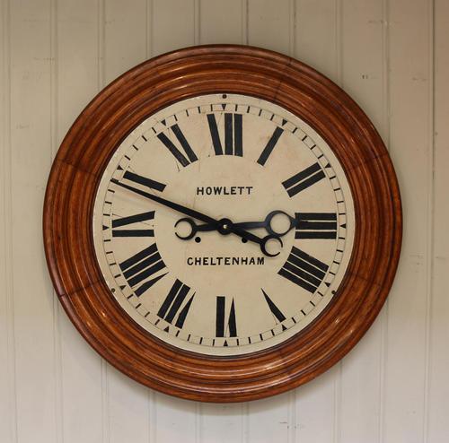 Rare 33 Inch Industrial Oak Wall Clock (1 of 10)