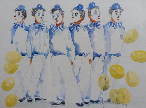 Watercolour Clowns with Tellow Balloons Listed Irish Artist Judith Caulfield Walsh (1 of 10)