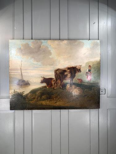 Antique Victorian landscape Oil Painting with Cows Sheep & Milkmaid (1 of 10)