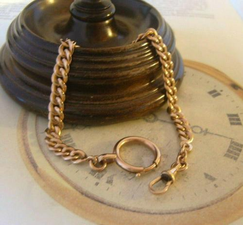 Antique Pocket Watch Chain 1890s French Victorian 14ct Rose Gold Filled Albert (1 of 12)