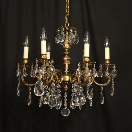 Italian 6 Light Gilded Antique Chandelier (1 of 10)