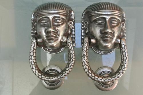 Pair of Victorian Polished Cast Iron Sphinx Pharaoh Door Knocker (1 of 7)