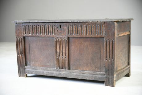 Antique Rustic Oak Coffer (1 of 13)