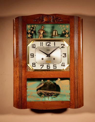 Italian Interest Automaton Large Oak Signed Odo Striking Wall Clock (1 of 11)