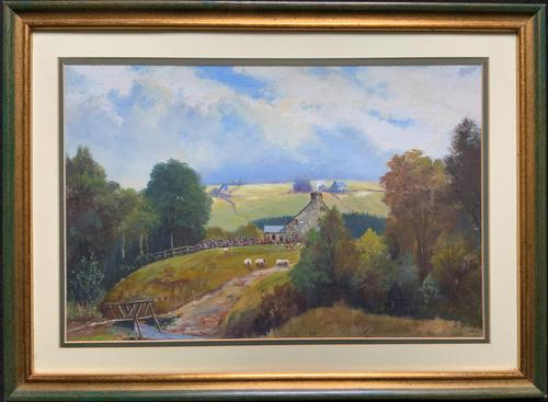 'Sheep In The Yorkshire Dales' - Original 1943 Vintage Landscape Oil Painting (1 of 12)