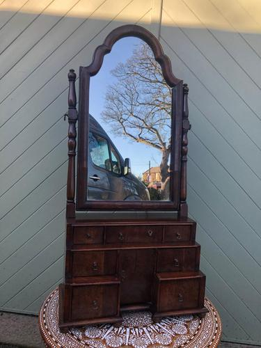 Antique Queen Anne Style Walnut Dressing Table Mirror (1 of 9)