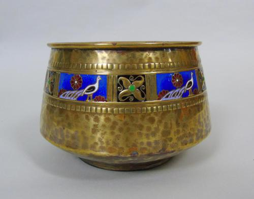 WMF Art Nouveau Planished Brass & Enamel Planter Jardiniere Albert Meyer (1 of 8)