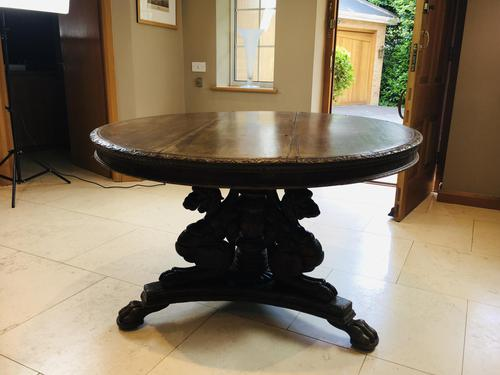 Stunning Antique French Walnut Carved Griffin Circular Dining Table c.1840 (1 of 12)