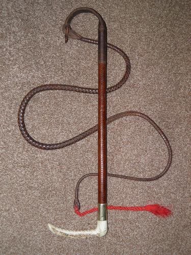 Vintage Gents Plaited Leather Hunt Whip W/Beaufort Leather Thong -Antler Handle (1 of 7)