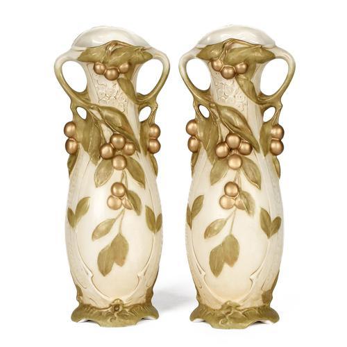 Royal Dux Bohemian Art Nouveau Pair of Ceramic Fruiting Berry Vases c.1900 (1 of 2)