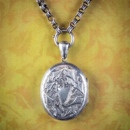 Antique Victorian Locket Collar Necklace Silver c.1880 (1 of 8)