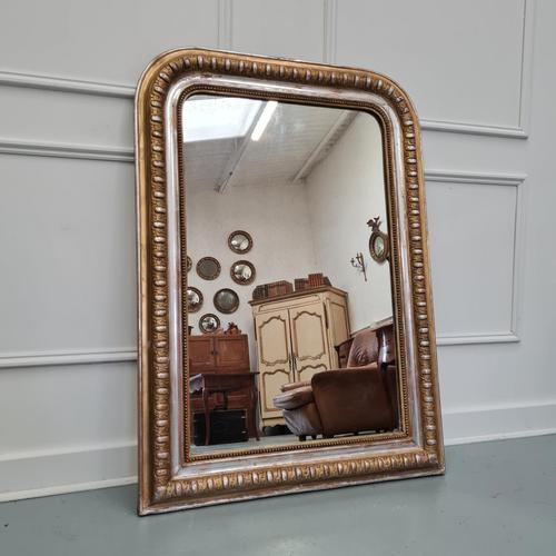 Antique French Gold & Silver Gilded Mirror c.1880 (1 of 4)
