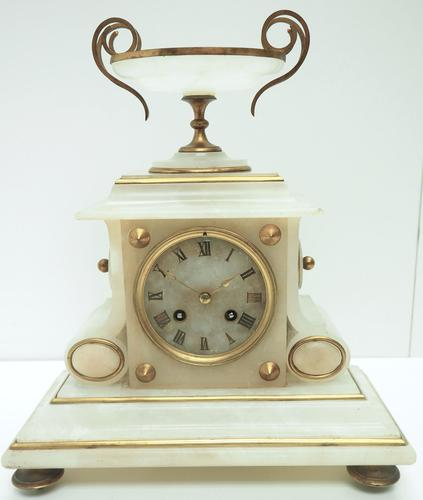Fine French 8-Day Mantel Clock Alabaster Clock with Ormolu Mounts Striking A Bell (1 of 10)