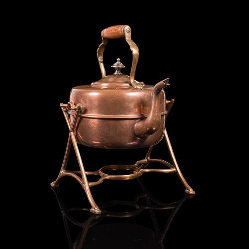 Antique Spirit Kettle, English, Copper, Brass, Teakettle, Stand, Victorian, 1900 (1 of 12)