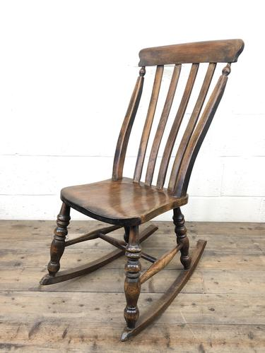 Antique Ash & Elm Rocking Chair (1 of 7)