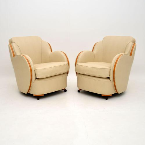 Pair of Art Deco Burr Maple Cloud Back Armchairs by Epstein (1 of 12)