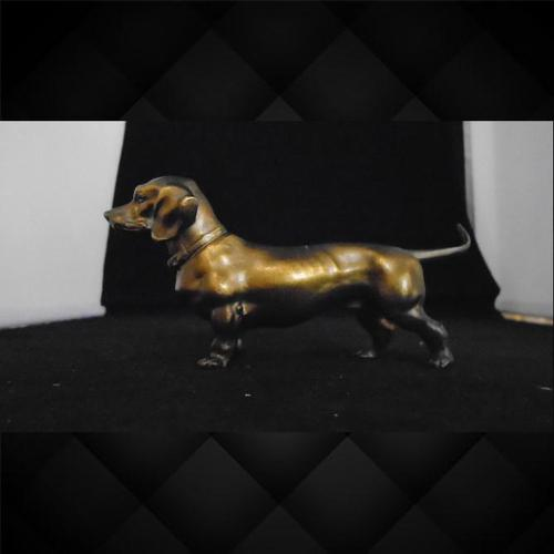 French / German Gilt Bronze Daschund (1 of 5)