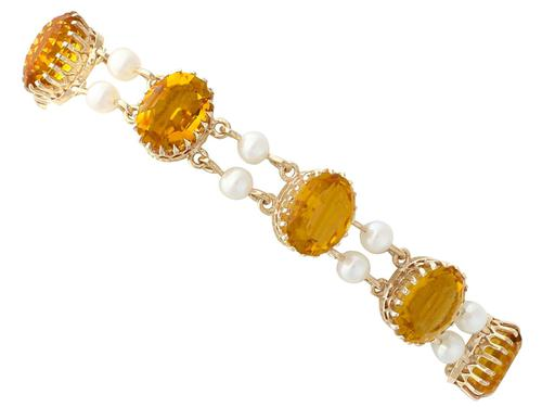 30.12ct Citrine & Pearl, 9ct Yellow Gold Bracelet - Vintage 1967 (1 of 12)
