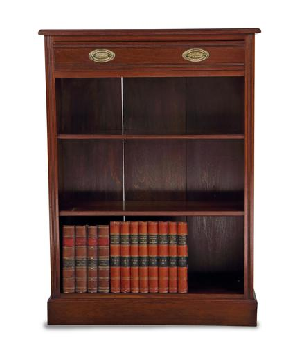 Slim Victorian Walnut Open Bookcase with Drawer (1 of 5)
