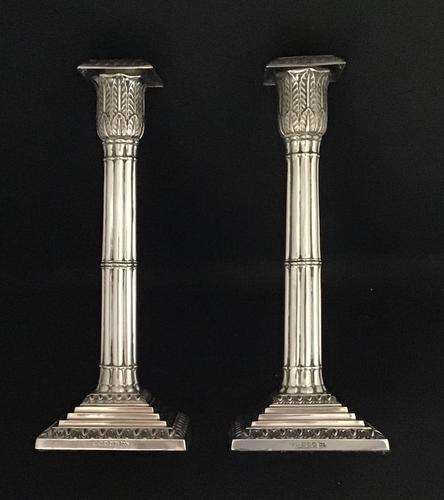 A   Victorian pair of silver plated Corinthian  column candlesticks (1 of 5)