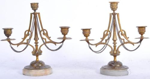 Pair of French Candelabra on Marble Bases (1 of 9)