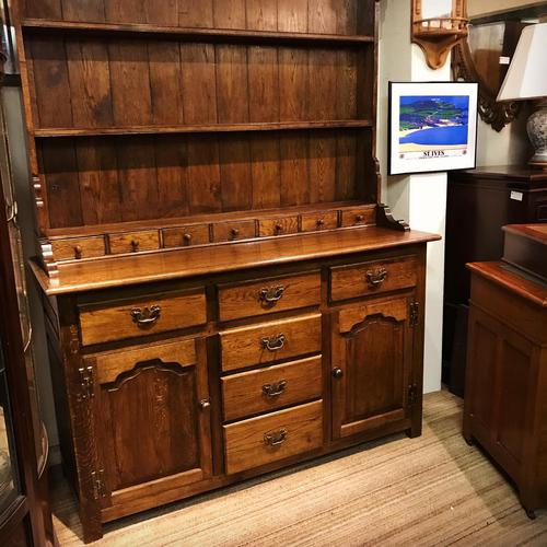 Oak open rack dresser with cupboard and draw base (1 of 14)