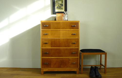 1930s Heals Golden Oak 5 Drawer Chest of Drawers (1 of 14)