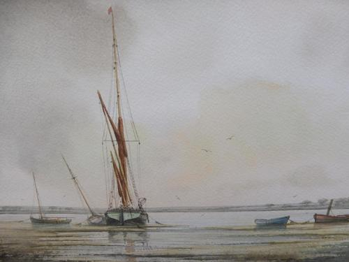 Watercolour evening by the river Denham Listed artist Alan Whitehead (1 of 10)