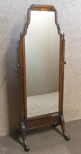 Edwardian Mahogany Queen Anne Style Cheval Mirror (1 of 12)