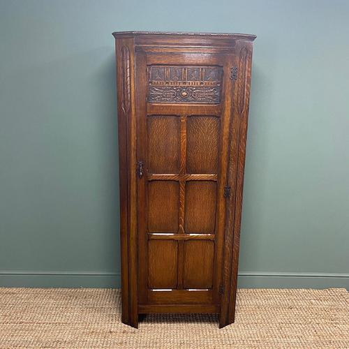 Quality Oak Antique Hall Cupboard / Wardrobe (1 of 7)