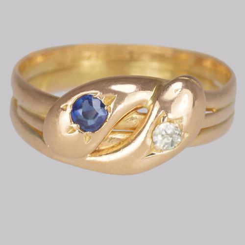 Victorian Snake Ring Old Mine Cut Diamond & Sapphire 15ct Gold Serpent Ring Birmingham 1894 (1 of 10)