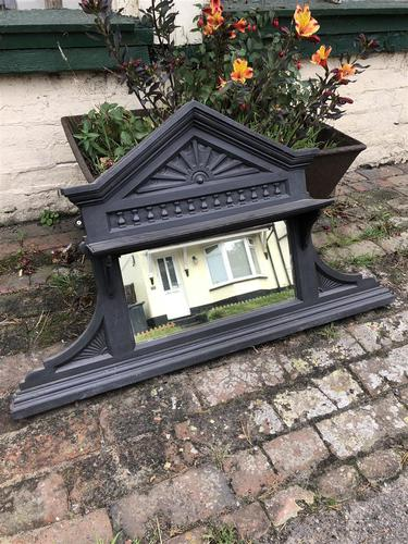 Antique Victorian Cast Iron Overmantle Mirror & Shelf (1 of 8)