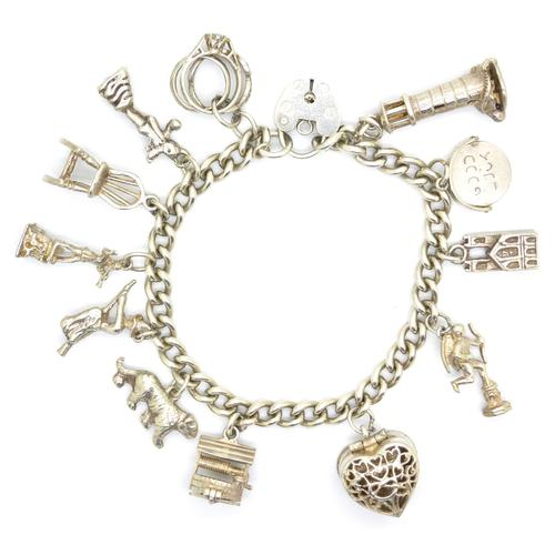 Vintage sterling silver English charm bracelet ~ 12 Charms & Heart padlock~ 50grams (1 of 8)