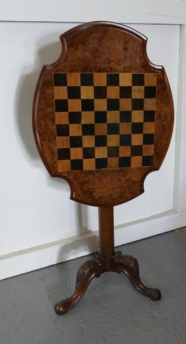 19th Century Inlaid Burr Walnut, Games Table (1 of 9)