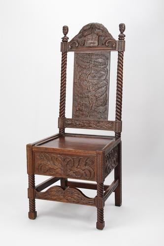 Victorian Gothic Carved Oak Chair Dated 1869 (1 of 13)