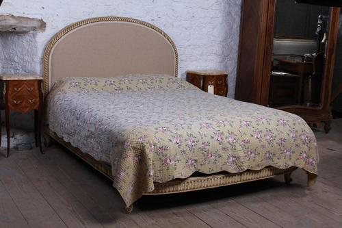 French Newly Upholstered Bow End King Size Bed (1 of 8)