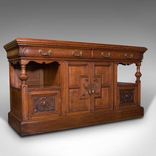 Large Antique Dresser Base, Scottish, Oak, Buffet, Server, Late Victorian, 1880 (1 of 12)