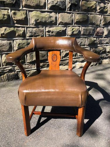Antique Walnut & Leather Desk Chair (1 of 8)