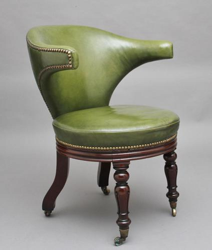 19th Century mahogany & green leather desk chair (1 of 11)