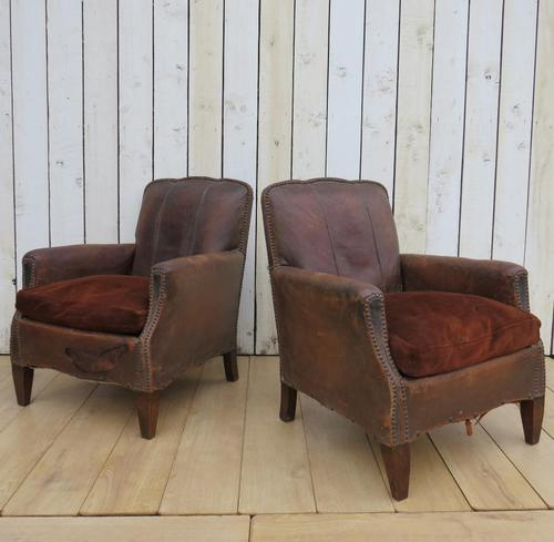 Pair of Antique French Leather Club Chairs (1 of 14)
