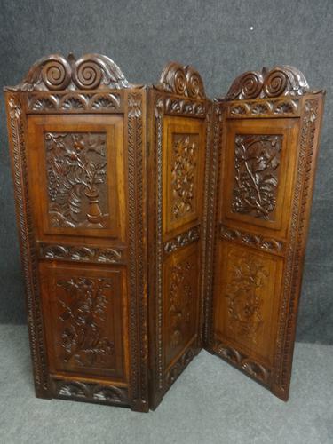 Superb Victorian Carved Oak Three Fold Screen (1 of 7)