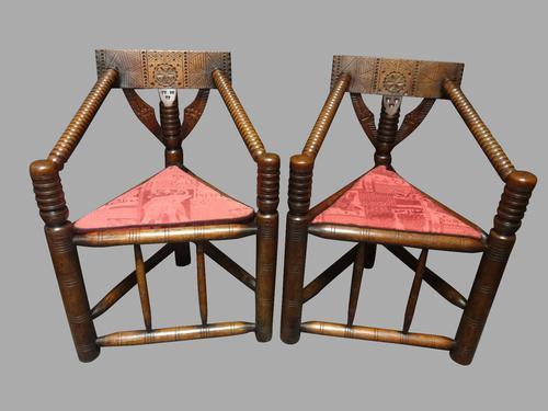 Pair of Oak Tribal Corner Chairs c.1880 (1 of 11)