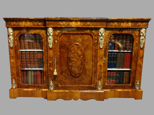 Outstanding Burr Walnut & Marquetry Bookcase/Credenza  C.1870 (1 of 11)