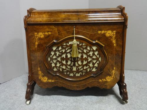 Superb Victorian Burr Walnut Inlaid Canterbury (1 of 12)