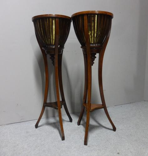 Good Pair of Inlaid Mahogany Jardiniere Planters (1 of 7)