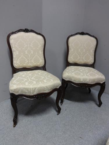 Great Pair of French Walnut Side Chairs c.1860 (1 of 10)