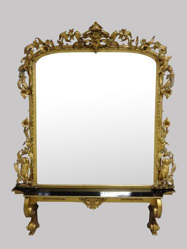 Very Rare & Impressive Victorian English Gilt Overmantle Mirror (1 of 12)