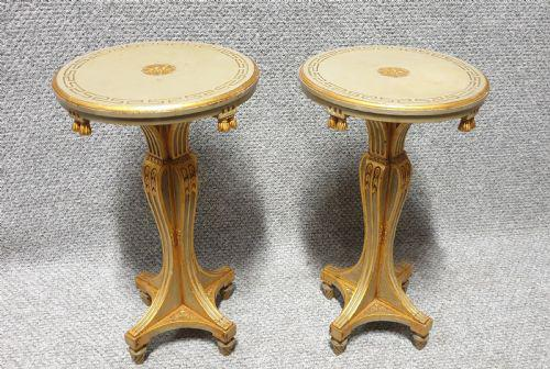 Pair of Painted Wine Lamp Tables c.1920 (1 of 7)